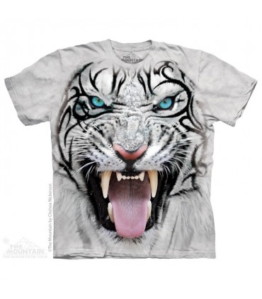Big Face Tribal White Tiger - Big cat T Shirt The Mountain