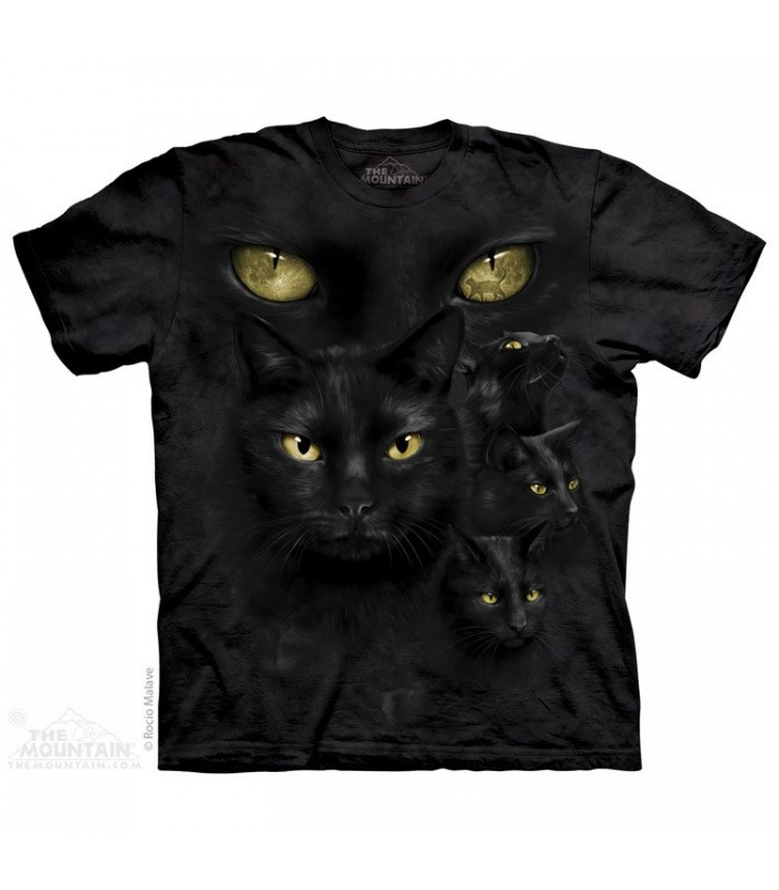 Black Cat Moon Eyes - Pet T Shirt The Mountain