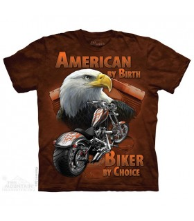 American By Birth - Biker T Shirt The Mountain