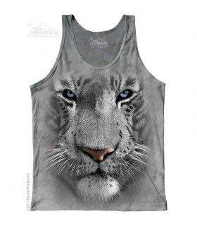 White Tiger Face - Tank Top The Mountain