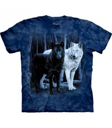 Black and White Wolves - Zoo Animals T Shirt by the Mountain