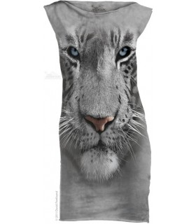 White Tiger Face T-Shirt Mini Dress The Mountain
