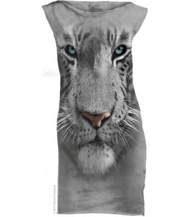 White Tiger Face T-Shirt Mini Dress The Mountain