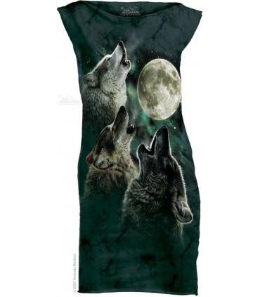 Three Wolf Moon T-Shirt Mini Dress The Mountain