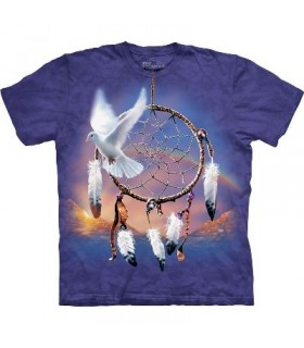 Dove Dreamcatcher - Native American T Shirt by the Mountain