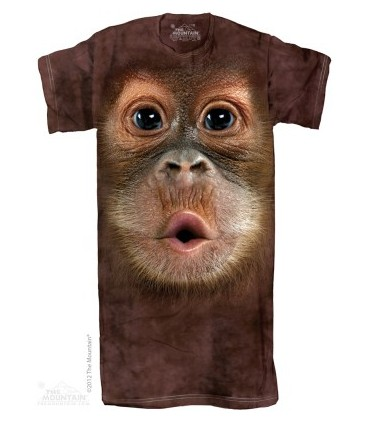 Big Face Baby Orangutan - Adult Nightshirt The Mountain