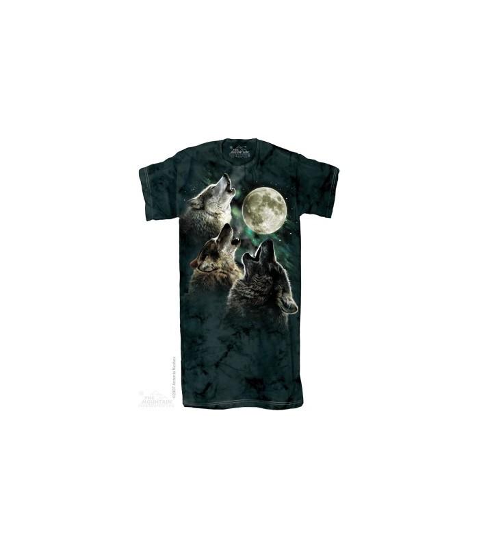 Trois Loups à la lune - Chemise de nuit pour Adulte The Mountain