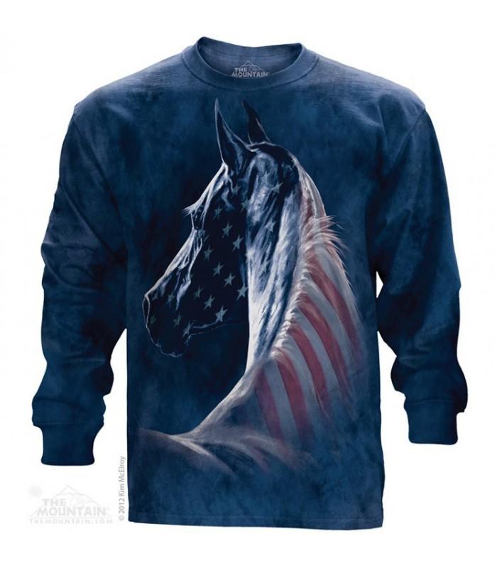 Patriotic horse long sleeve t shirt the mountain for Mountain long sleeve t shirts