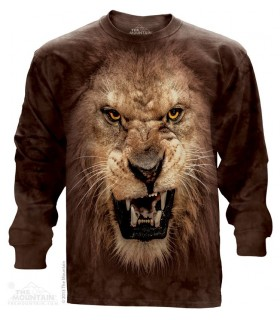 Big Face Roaring Lion - Long Sleeve T Shirt The Mountain