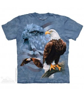 Faded Flag & Eagles - Patriotic T Shirt The Mountain