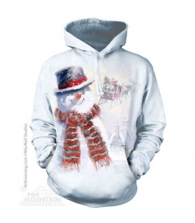 Happy Snowman Adult Christmas Hoodie The Mountain