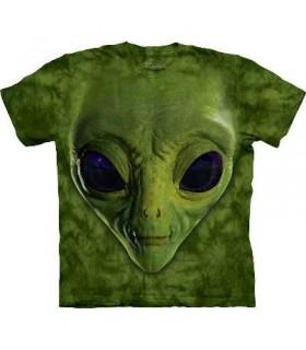 Green Alien Face - Sci Fi T Shirt by the Mountain