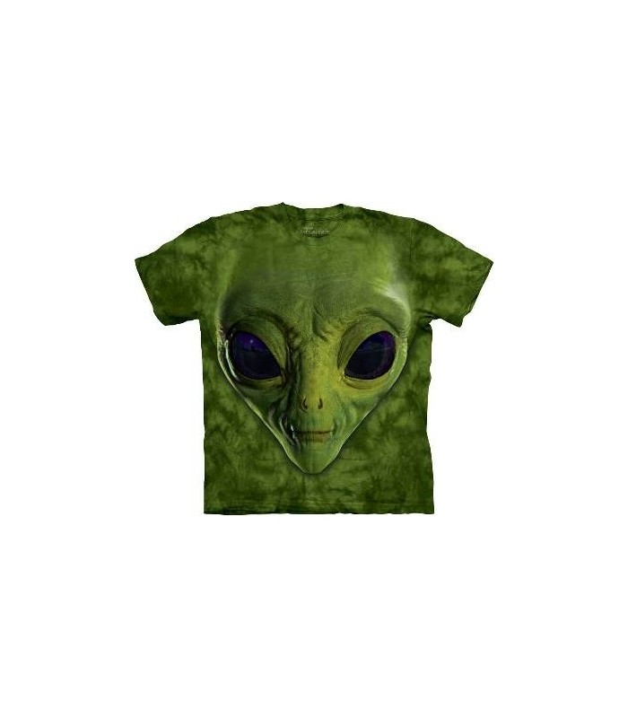 Green Alien Face - Sci Fi T Shirt by the Mountain