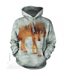 Adult Unisex Forest Wolf Hoodie The Mountain