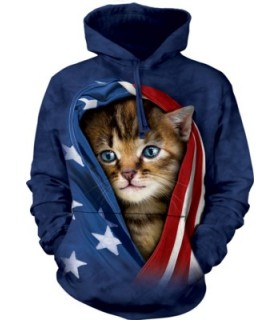 Adult Unisex Patriotic Kitten Hoodie The Mountain