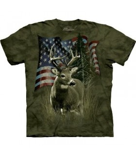 T-Shirt Drapeau et Cerf par The Mountain
