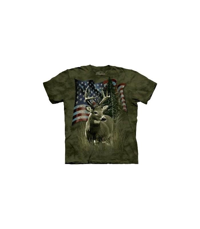 T-Shirt Drapeau et Cerf par The Mountain