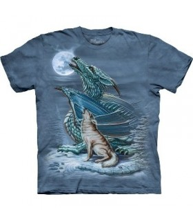 T-Shirt Dragon et Loup par The mountain