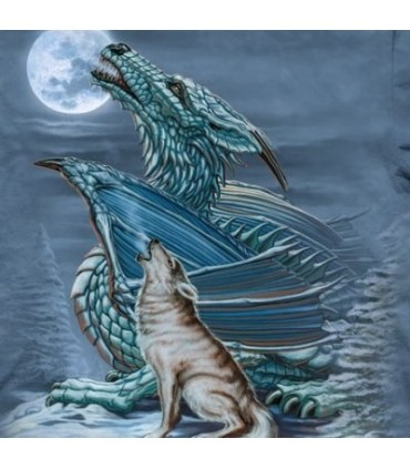 Dragon Wolf Moon - Fantasy T Shirt by the Mountain