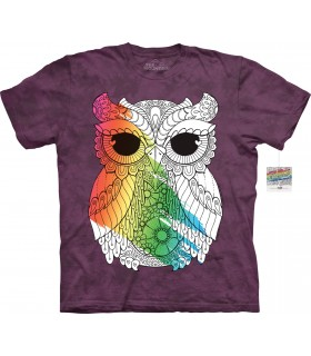 T-shirt hibou 3 à colorier