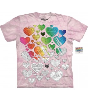 T-shirt Coeur à colorier