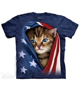 Patriotic Kitten - Cat T Shirt The Mountain