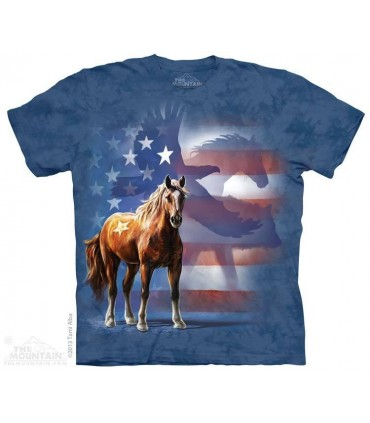 Wild Star Flag - Patriotic Horse T Shirt The Mountain