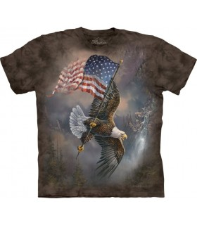 Flag Bearing Eagle Patriotic T Shirt