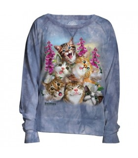 Blue Selfie Cats Womens Slouchy Crew