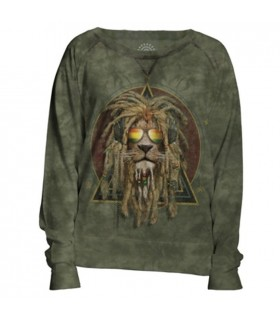 DJ Lion Retro Womens Slouchy Crew