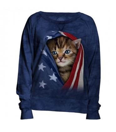 Patriotic Kitten Womens USA Slouchy Crew