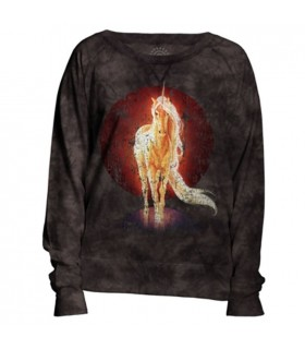 Retro Unicorn Womens Slouchy Crew