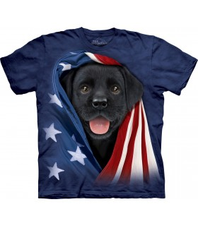 T-shirt Labrador Noir Patriotique The Mountain