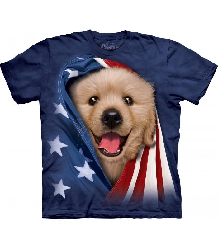 T-shirt Chiot Golden Patriotique The Mountain