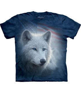 Patriotic White Wolf T Shirt