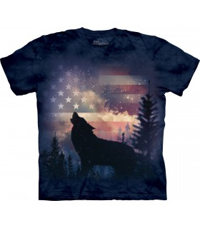Patriotic Wolf Howl T Shirt