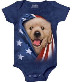 Patriotic Golden Pup Babygrow