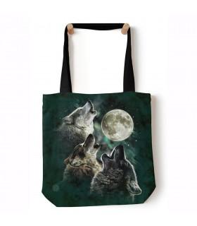 Three Wolf Moon Black Animal Tote Bag 45x45cms The Mountain