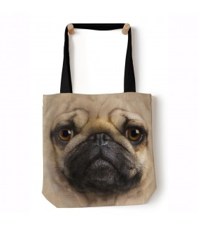 Pug Face Beige Pet Dog Tote Bag 45x45cms The Mountain