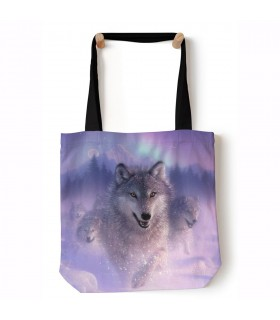 Northern Lights Purple Wolves Tote Bag 45x45cms The Mountain