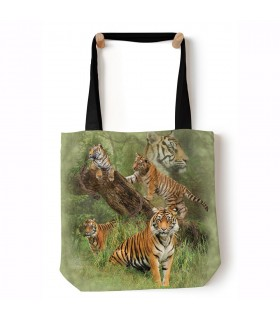 Wild Tiger Collage Green Tote Bag 45x45cms The Mountain