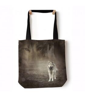 Grey Wolf Portrait Grey Animal Tote Bag 45x45cms The Mountain