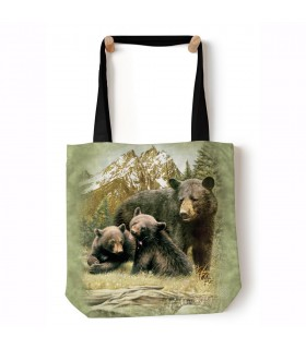 Black Bear Family Green Animal Tote Bag 45x45cms The Mountain