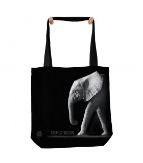 Stop Extinction Elephant Black Tote Bag 45x45cms The Mountain