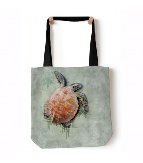 Sea Turtle Climb Green Aquatic Tote Bag 45x45cms The Mountain