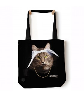 Tupaw Black Pet Cat Manimal Tote Bag 45x45cms The Mountain