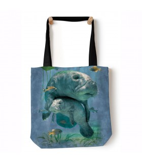 Manatees Collage Blue Aquatic Tote Bag 45x45cms The Mountain