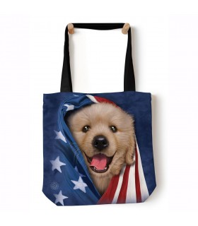 Patriotic Golden Pup Blue Pet Tote Bag 45x45cms The Mountain