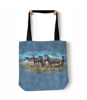 Zebra Gathering Blue Animal Tote Bag 45x45cms The Mountain