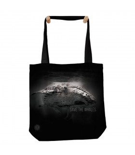Save The Whales Black Aquatic Tote Bag 45x45cms The Mountain